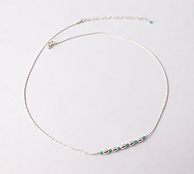 Collier fin tour de cou, chaine serpent argent massif 925, perles argent ovales et perles en pierre turquoise