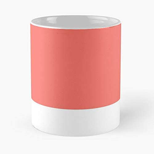 2019 Colour Of The Year Living Coral Pantone Swatch - Best 11 Ounce Ceramic Coffee Mug Gift -