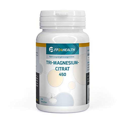 FP24 HEALTH Tri-Magnesiumcitrat - 240 Tabletten - 450mg reines Magnesium pro 3 Tabletten - Hochdosiert - Premium Qualität - Made in Germany