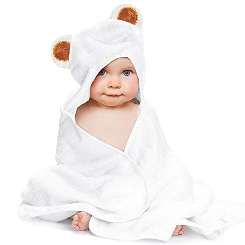 LATTCURE Kapuzenbadetuch Kuschelig und Warm aus Bambusfaser Badetuch Handtuch mit Kapuze für Babys und Kleine Kinder Kapuzenhandtuch 90 * 90 CM