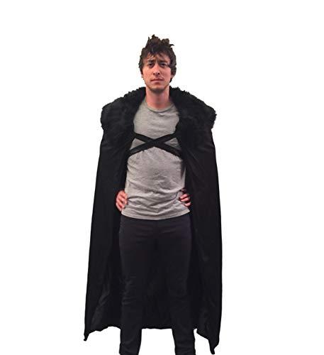 Encore Cosplay Halloween Lord Schnee Kostüm für Herren, Umhang, für Cosplay (X-Small, Black fur) (Ned Stark Kostüm)