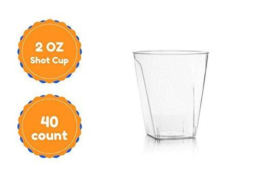 Einweg Elegante quadratisch Kunststoff Glas Shot Cups 40Zählen (Shot Bachelorette Gläser)