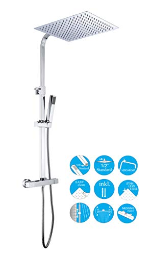JOHO Thermostat Duschset Duschsystem Brausesetthermostat Regenduschset Duscharmatur mit 304 Edelstahl Kopfbrause Handbrause (Thermostat eckig 30x30cm)