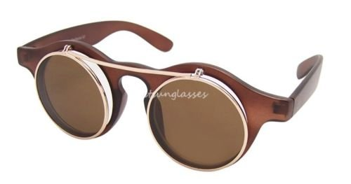 Braun Steampunk Brille, Party Flip Up Rund Klar Objektiv Sonnenbrille Lady Gaga