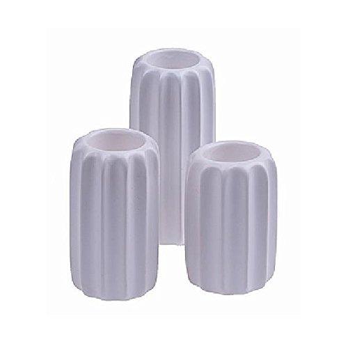 Rib-set (3er Set Teelichthalter RIB, Keramik, weiß, rund, Ø 6,5cm, H. 11 + 12 + 15cm, Hen)