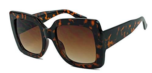 Große 70er Jahre Retro Sonnenbrille im Designer Look Square Blogger Style PSH (Hornbrille)