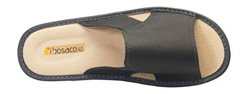 Hommes confort luxe chaussons pantoufles Cuir veritable Gris