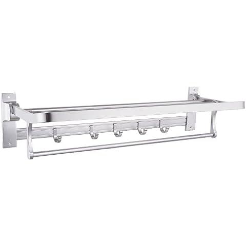 KES A4015 aluminio plegable toallero de baño estante perchero con soporte de pared ganchos colgadores,