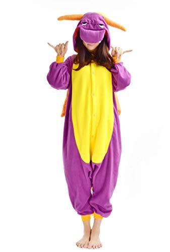 SAMGU Dinosaurier Unisex Adult Tier Onesie Pyjama Kostüm Kigur Umi Schlafanzug Erwachsene Tieroutfit Jumpsuit Farbe Lila Größe XL