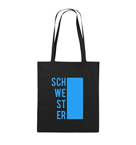 Comedy Bags - SCHWESTER - BLOCK - Jutebeutel - lange Henkel - 38x42cm - Farbe: Schwarz / Silber Schwarz / Blau