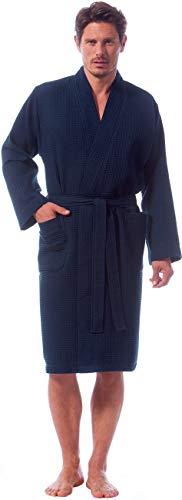 Morgenstern Waffelpique Bademantel Herren Morgenmantel Blau leicht Männer Saunabademantel Kimono Herrenbademantel Dunkelblau Baumwolle dünn kurz Größe L