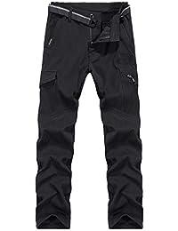 Ynport Crefreak Pantalón elástico con Forro Polar para Hombres Pantalones de Soldador a Prueba ...