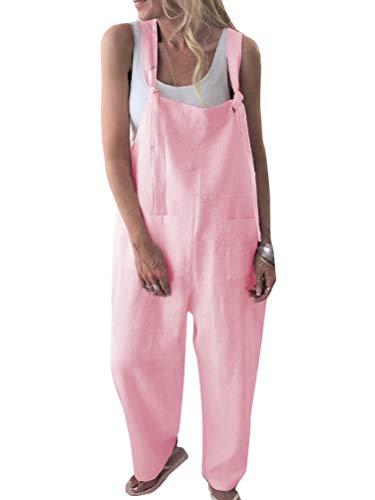 Onsoyours Damen Retro Latzhose Sommerhose Jumpsuits Playsuit Bib Hose Leinen Casual Loose Overall Lange Wide Leg Hosen A Rosa DE 38 -