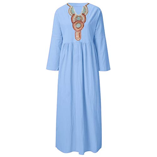 c0cb4ad646473 KIMODO Women's Dress Summer Vintage Deep-V Long Sleeve Linen Dress Loose  A-line
