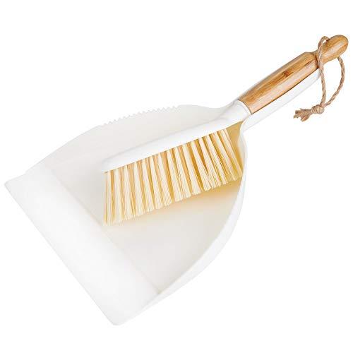mDesign 2er-Set Kehrgarnitur aus Bambus und Kunststoff - Kehrschaufel und Handbesen mit langem Stiel - für eine schnelle und effektive Reinigung im Haus - weiß/naturfarben -
