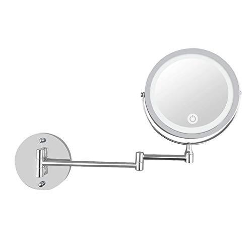 Moderner Schminkspiegel (Lanbowo LED Doppelseitiger Kosmetikspiegel Wandhalterung 10-fache Vergrößerung Schwenkbarer Verlängerungsspiegel Fach Vergrößerungsspiegel Vertikal Spiegel Metall Verchromt Badezimmer Wohnaccessoires)