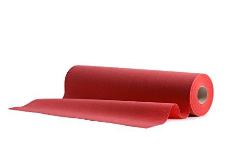 1 Airlaid Tischläufer 40 cm x 24 m Rolle mit Perforation für einfaches Kürzen, 20x Einweg Tischdecke pro Rolle, Tischband, Stoffähnlich Hochzeit Catering Hotel Premium QUALITÄT | Rot