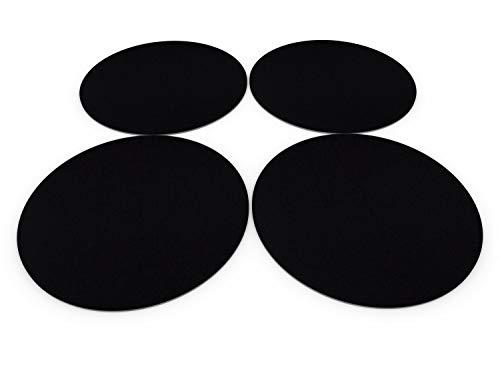 Casoro 4er Filz Platzset rund in schwarz, hochwertiges Tischset für alle Gelegenheiten, edle Platzmatten je Ø35cm groß, modernes Tisch-Accessoire