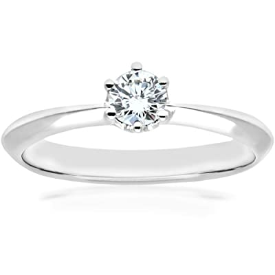 Naava 18ct White Gold 6 Claw Knife Edge Engagement Ring, F/SI1 EGL Certified Diamond, Round Brilliant, 0.28ct