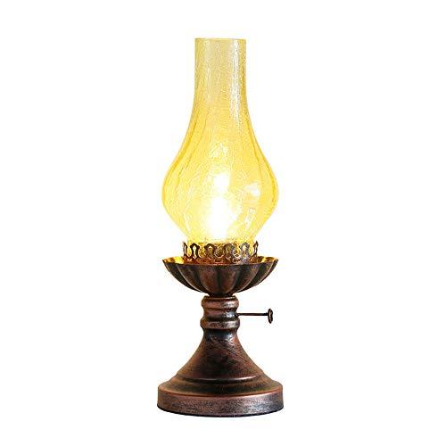 Tipo de producto: lámpara de mesaDimensiones: aprox. 14 * 14 * 40 cm material de la lámpara: hierro/vidrioColor de la lámpara: color de cobre negro de la pantalla: claroGenero: retroInterruptor de encendido/apagado: síDiseño: lámpara del petróleoAjus...