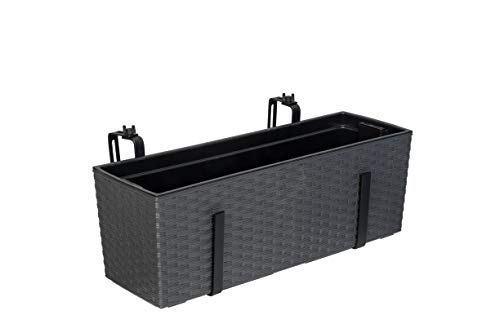 Kreher XL Balkonkasten, Pflanzkasten mit Wasserspeicher im Rattan Design aus Kunststoff in Anthrazit. Mit Flexibler Metallhalterung. Maße 56 x 18,5 x 19,5 cm.