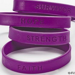 144 PURPLE SILICONE PANCREATIC CANCER AWARENESS BRACELETS by Jeirles Wholesale