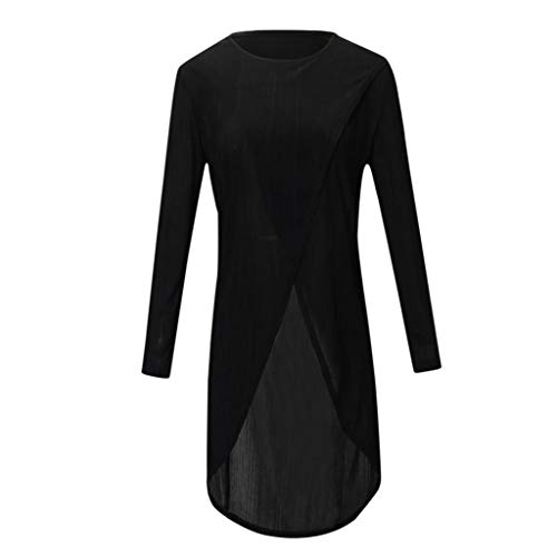 iYmitz Damen Casual Long Sleeve Forking Unregelmäßige Tops Bluse Pullover Shirt(Schwarz,S)
