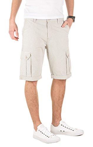 Yazubi Herren Shorts Daniel - Elegante, Cargo Shorts aus Sommerstoff mit Hahnentritt-Muster Grau (Driftwood 181210)