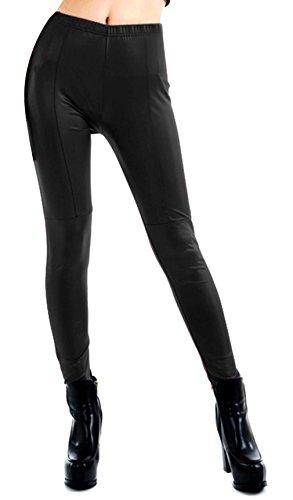 V-SOL Polainas Pantalones Para Mujer Señora De Cuero Imitación De Primavera Otoño Talla M Negro
