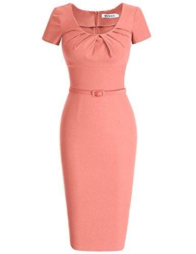 MUXXN Damen 1950's Retro Rundhals Kurzarm Abend Bleistift kleid Vintage Kleider Partikleid Business Kleid(2XL, Pink) (Kurzarm-achselzucken)