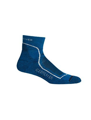 Icebreaker Herren Merino Trekking Medium Crew Socken atmungsaktiv geruchsabweisend, Herren, Hike+ Light Cushion Mini Socks, Isle/White/Midnight Navy, Small -