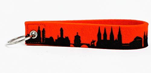 44spaces Design Schlüsselanhänger Bamberg Skyline Loop Wollfilz in orange, persönliches Geschenk für Frauen Männer Geburtstag Einzug Städtereise