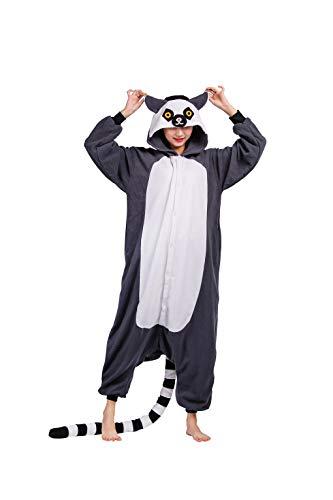 DarkCom Tier Kostüm für Erwachsene Unisex-Modell Einteiler Jumpsuit ideal Pyjama oder Cosplay Verkleidung Grau,XL Für Höhe(181CM-195CM)