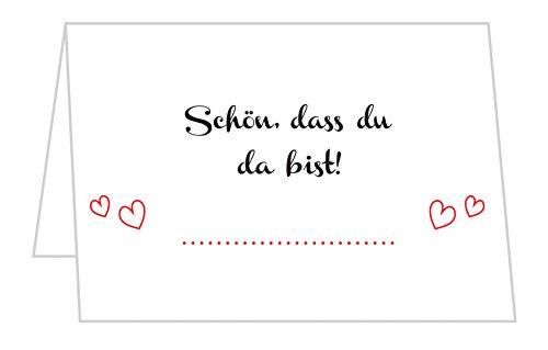 50 Stück Tischkarten Hochzeit - Platzkarten für Geburtstag, Taufe, Kommunion und Konfirmation mit 'Schön, DASS du da bist' Motiv