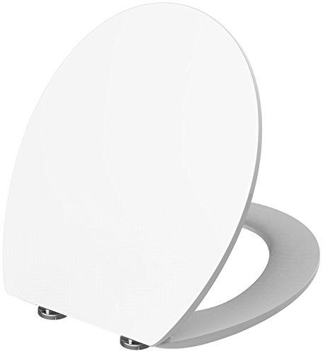 Antikalkblitz WC-Sitz-mit-Absenkautomatik in Weiß   Stabiler Toilettensitz + Klodeckel mit Geräuschloser Softclose-Technik und patentierten CLICK Schnellösesystem -