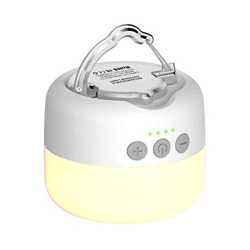 YFW LED Campinglampe, USB Wiederaufladbar Camping Laterne, 3 Helligkeiten Stufenlos Dimmbar, eingebauter starker Magnet mit 5200mAh Power Bank und SOS Notfall Strobe-Funktion