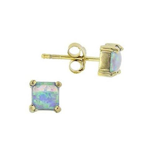 Gold-diamant Ohrringe Quadratischer (Quadratische 6mm große Ohrringe / Ohrstecker mit blauem CZ Opal, 24 Karat Gold Vermeil)