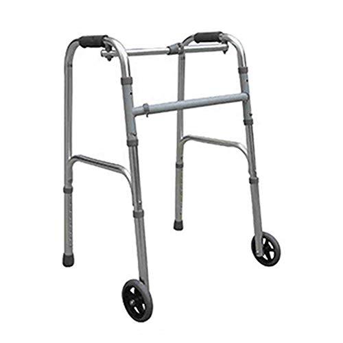 LOVEQIZI Älterer zweirädriger Walker - Deluxe-Klapp-Walker mit 5-Zoll-Vorderrädern und höhenverstellbarer Einknopf-Entriegelung