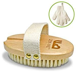 Cepillo Cuerpo Seco Cerdas Naturales 1 Par Guantes