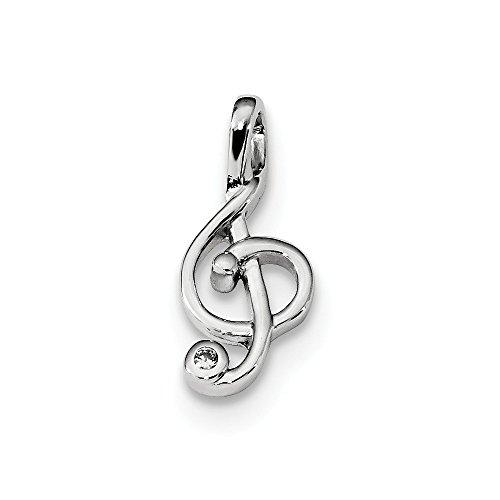 Diamond2Deal Damen Sterling Silber rhodiniert CZ Violinschlüssel Slide (Violinschlüssel Halskette Gold)