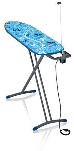 Leifheit Bügeltisch Air Board M Solid Plus ist höhenverstellbar, Bügelbrett für Dampfbügeleisen, Dampfbügeltisch mit Zwei-Seiten-Bügeleffekt, Limited Edition grau blau
