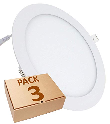 (LA) 3x Panel LED Redondo 18W, Downlight, Blanco Frio 6500K. 1600 lumenes reales! Corte 200mm Standard