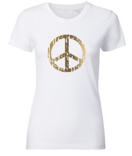 Zeichen Damen Schnitt T-shirt (PEACE - Weiss - WOMEN T-SHIRT by Jayess Gr. XXL)