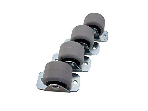 (4 Stück) 30 mm Gummiräder Kunststoff Drehrolle Doppelrollen Metall mit Platte Möbelgerät & Ausrüstung kleine Mini-Rollen Set