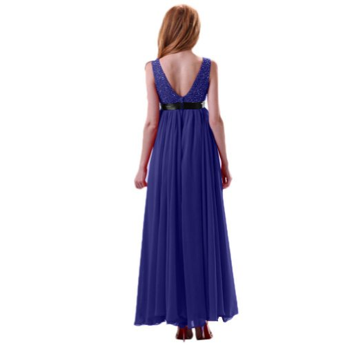 Lemandy Robe de cocktail mousseline col V avec ruban Bleu royal