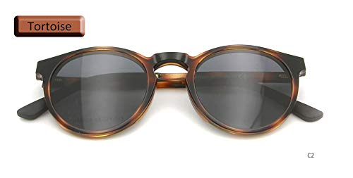 LKVNHP Männer Frauen Polarisierte Klipp Auf Sonnenbrille Magnetische Runde Ultem Speicher Brillen Rahmen Magnetische Sonnenbrille Driving SpectacleTortoise