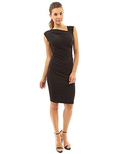 PattyBoutik femmes La robe asymétrique fourreau midi sans manches et de tronçon plissée Noir