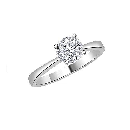 18ct Oro Blanco En forma de Circulo Anillo de Diamante, 0,9 ct Diamante, GH-SI, 3,6 gramos,