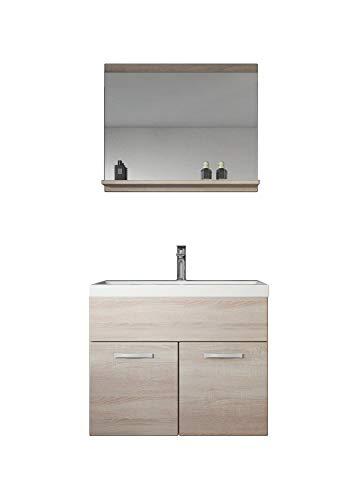 Badezimmer Badmöbel Montreal 02 Sonoma 60cm Waschbecken - Unterschrank Waschtisch Spiegel Möbel