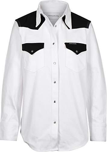 Calvin Klein Jeans Foundation Western W Blusa White Black Blocked